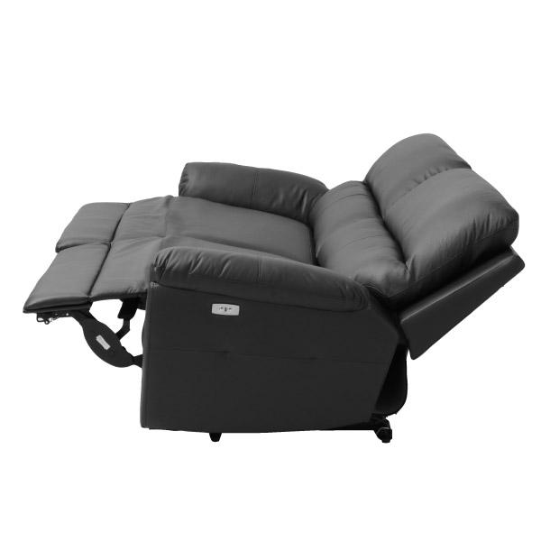 ◎半皮3人用電動可躺式沙發 N-BEAZEL BK NITORI宜得利家居 3