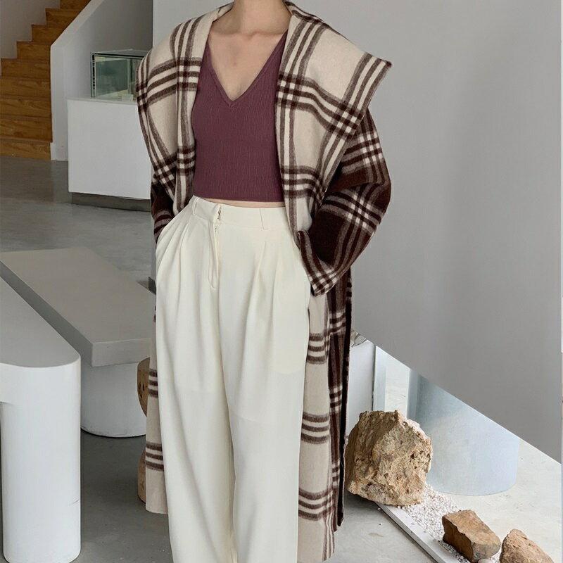 毛呢大衣羊毛外套-雙面穿拼色格紋連帽女外套73wb23【獨家進口】【米蘭精品】 0