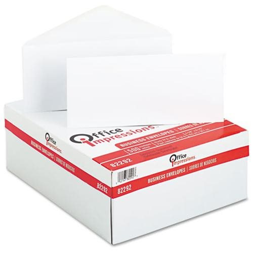 Office Impressions Plain Envelopes, #10, White, 500/Box 0