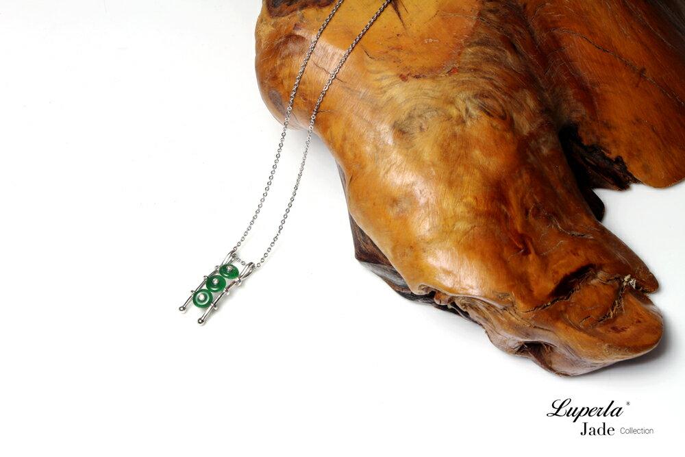 大東山珠寶 事事如意 天然緬甸老坑玻璃種A貨翡翠 頂級真鑽18K白金項鍊 2