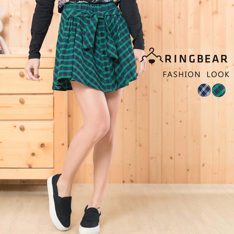 短裙--甜美學院風氣質蝴蝶結排釦裝飾鬆緊格紋褲裙(藍.綠XL-4L)-R173眼圈熊中大尺碼 1