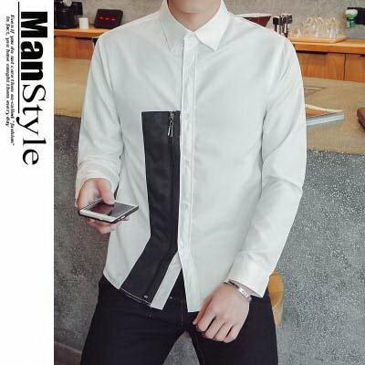 ~均一價366元~ManStyle潮流 長袖襯衫簡約氣質幾何裝飾休閒襯衫~08B~C000