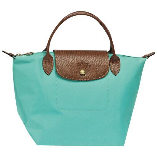 [短柄S號]國外Outlet代購正品 法國巴黎 Longchamp [1621-S號] 短柄 購物袋防水尼龍手提肩背水餃包 湖綠色 0