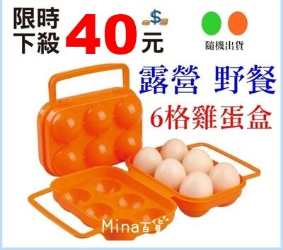 (mina百貨) 6格雞蛋保鮮盒 冰箱保鮮盒 戶外露營野餐收納盒 儲物雞蛋盒 廚房 便攜式 F0002-2