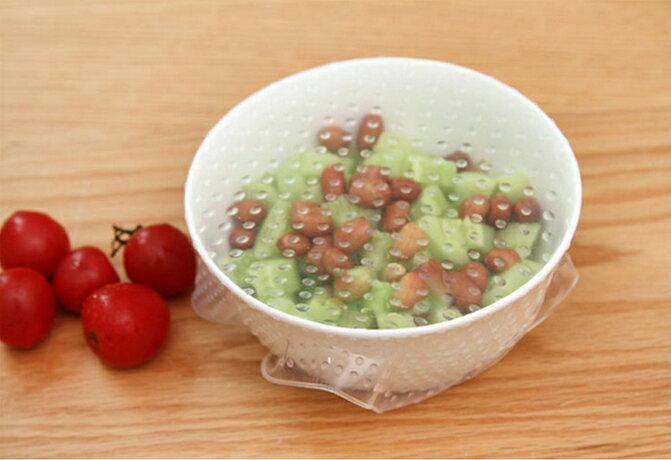 SAF 食品矽膠 食物保鮮膜 (4件套) 密封 萬能碗蓋 真空多功能 碗蓋保鮮膜 環保矽膠 保鮮膜