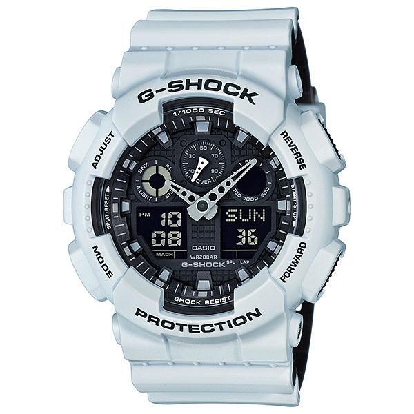 CASIO G-SHOCK GA-100L-7A 黑白雙色錶帶雙顯腕錶/黑面51mm