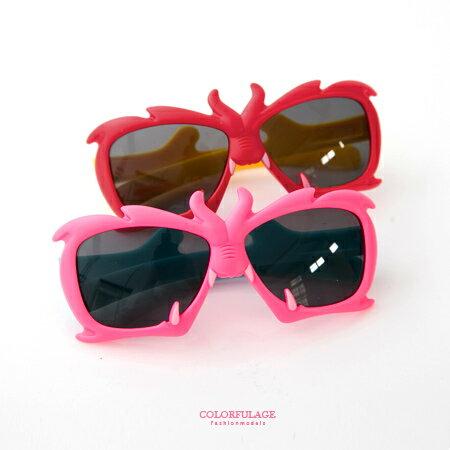太陽眼鏡 墨鏡 抗UV400撞色龍角造型展現個人風格 顏色艷麗多彩樣式 柒彩年代【NY312】孩童專用 0
