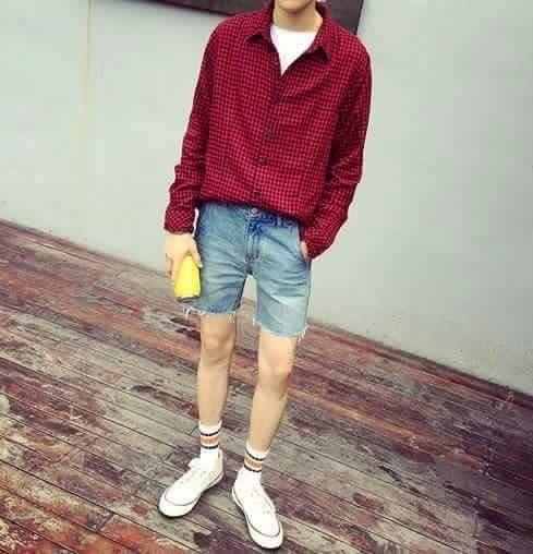 簡約格子襯衫 紅 男裝 JP NMD adidas