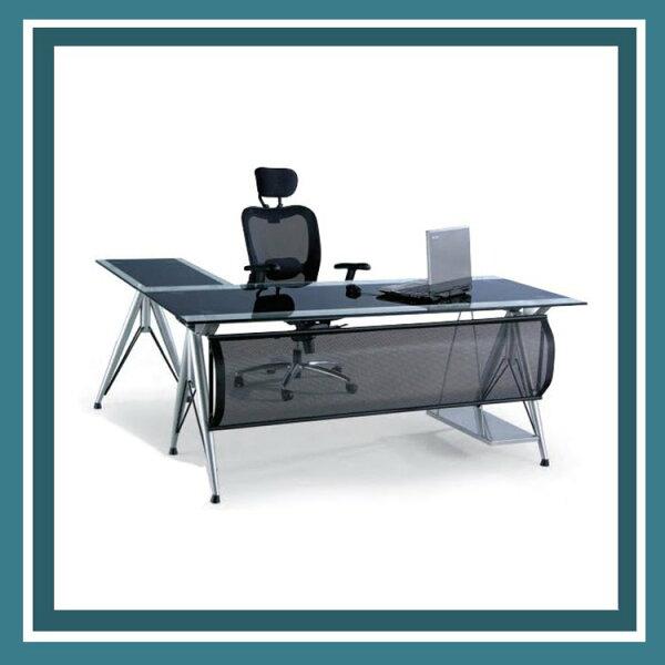 『商款熱銷款』【辦公家具】CP-92612mm雙色強化玻璃主管桌辦公桌書桌桌子
