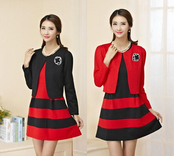 天使嫁衣【J2K9851】2色中大尺碼長袖圓領顯瘦拼色兩件式套裝-預購
