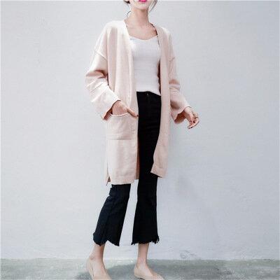 純色開叉中長款針織衫外套樂天時尚館。預購。[全店免運]