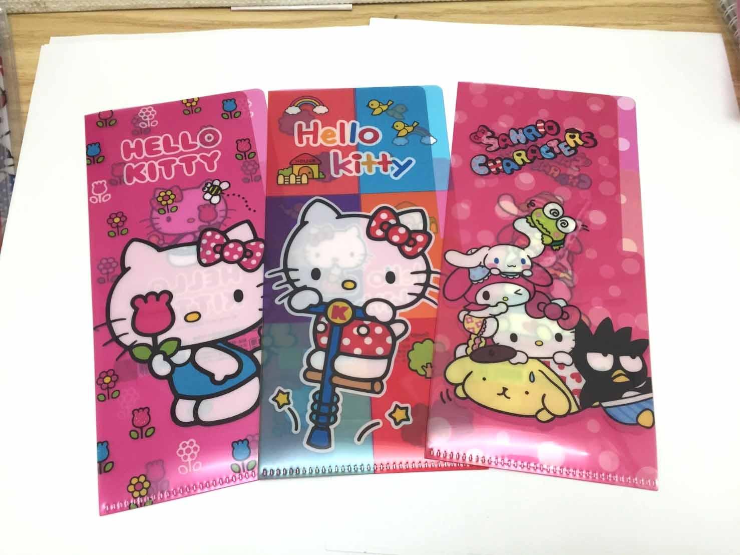 【真愛日本】17041100005 長型小雙層L夾-KT3款 三麗鷗 Hello Kitty 凱蒂貓 收納 文具用品
