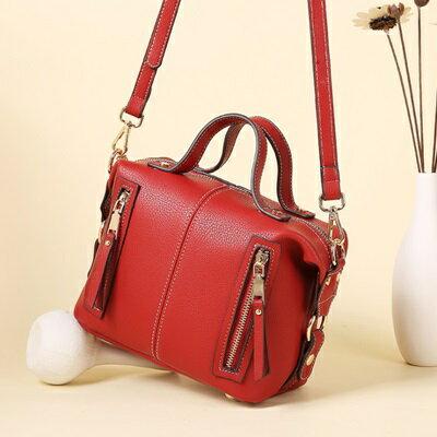 手提包波士頓肩背包-時尚大方簡約純色女包包2色73sb25【獨家進口】【米蘭精品】