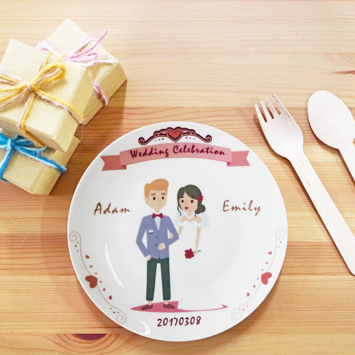 《陶緣彩瓷》 白色婚禮Wedding Celebration-6.5吋骨瓷盤 / 結婚禮物/婚禮小物 / 伴娘禮物 / 客製化