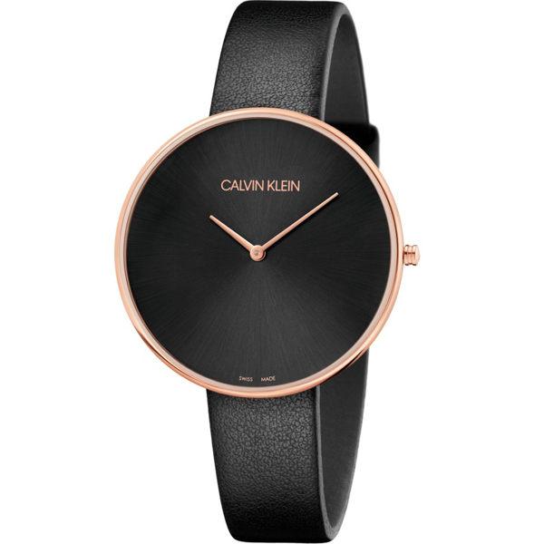 Calvinklein卡文克萊望月系列(K8Y236C1)樸素簡約設計腕錶玫瑰金黑42mm