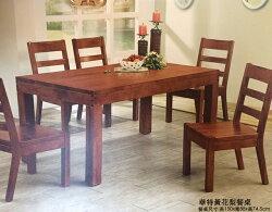 【尚品傢俱】648-28法拉利5尺餐桌(含玻)/實木餐桌/飯桌/團圓桌/家庭聚會桌/餐廳桌/食堂桌