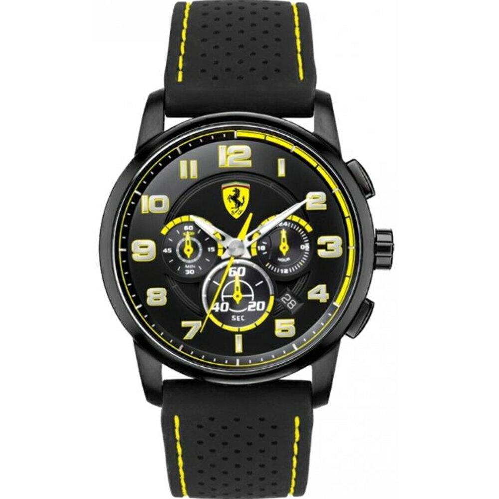FERRARI Pit Crew速度感計時運動腕錶 / 黃 / 0830061 0