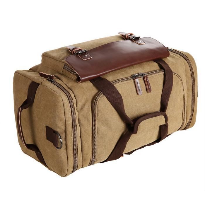 Canvas Duffle Bag Oversized Travel Tote Luggage with Shoulder Strap 4