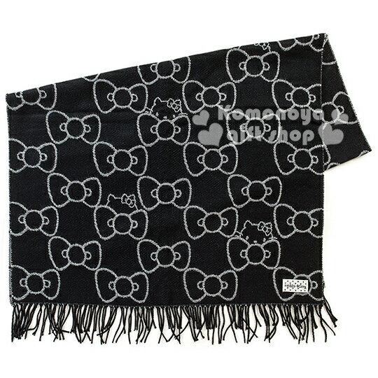 〔小禮堂〕 Hello Kitty披肩圍巾《黑.多蝴蝶結.大臉.76x206》秋冬禦寒小物
