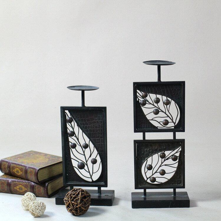 歐式復古鐵藝燭臺2件套 樹葉鏤空做舊 家居裝飾品 孤品1入