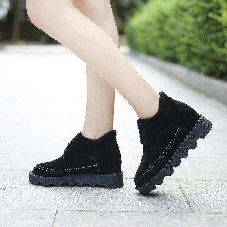 保暖秋 雪地靴女厚底短靴加絨加厚內增高短筒女靴棉鞋女鞋