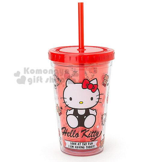 〔小禮堂〕Hello Kitty 雙層塑膠杯《透明.紅.坐姿.小熊.蘋果.牛奶.300ml》附蓋.吸管