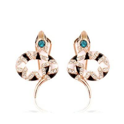 玫瑰金耳環925純銀鑲鑽耳飾~ 蛇型紋路生日情人節 女飾品73gs153~ ~~米蘭 ~