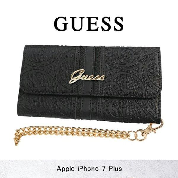 GUESS立體壓紋手拿包*5.5吋iPhone7Plusi7+剪裁壓印LOGO卡片夾卡袋磁扣側掀側翻皮夾皮套保護套軟殼保護殼手機套手機殼
