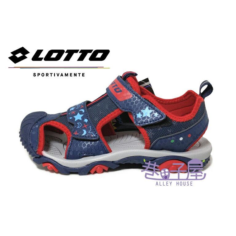 義大利第一品牌-LOTTO樂得 童款閃亮星星刺蝟抓底護趾涼鞋 [6216] 藍紅 【巷子屋】