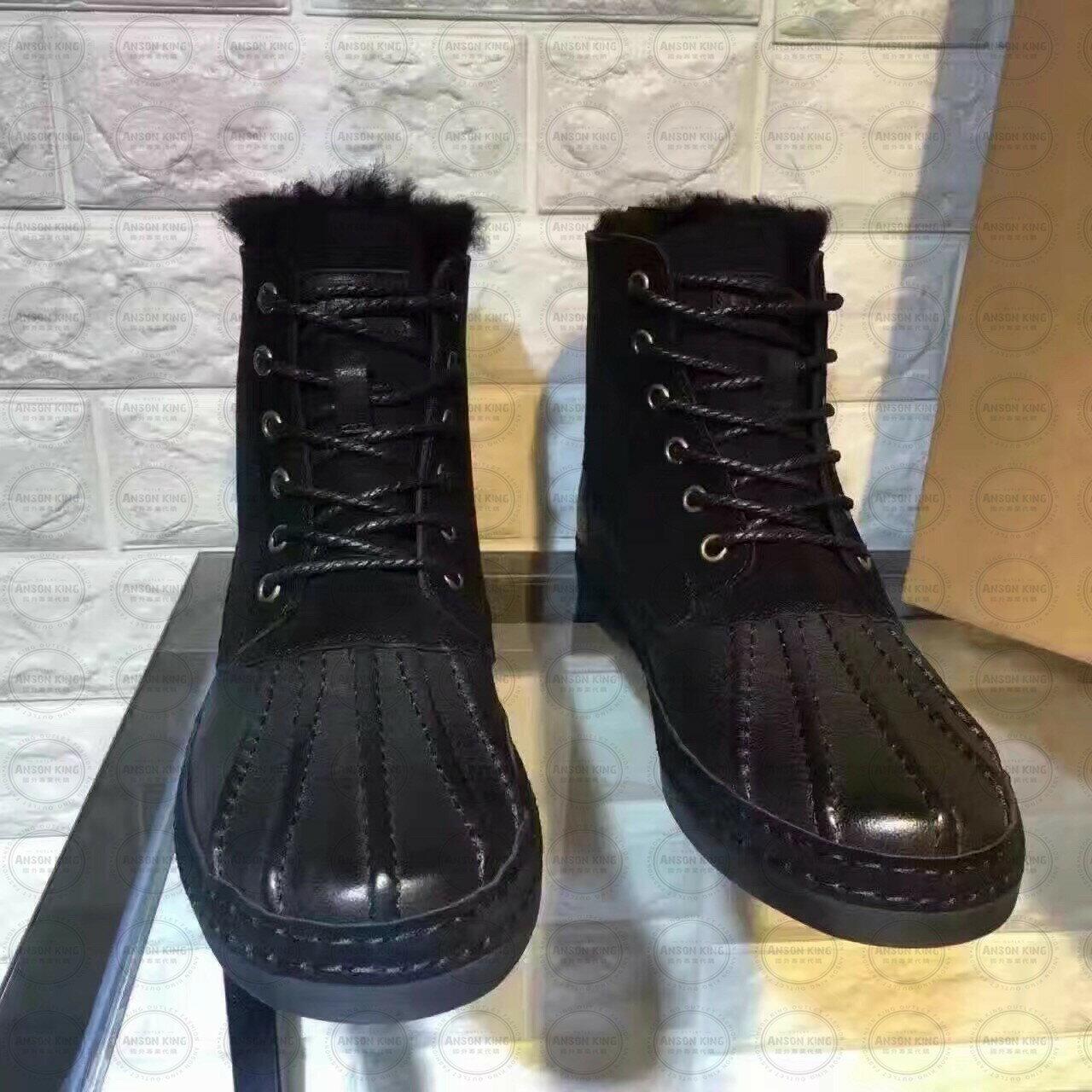 OUTLET正品代購 澳洲 UGG 冬季男款貝殼頭馬丁靴 短靴 保暖 真皮羊皮毛 雪靴 短靴 黑色 1