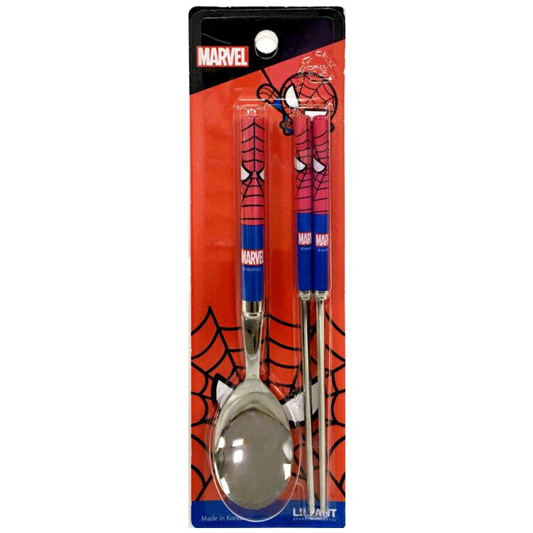 韓國製 MARVEL鋼鐵人蜘蛛人 不鏽鋼湯筷組 湯匙筷子 環保餐具組 共兩款隨機出貨 韓國進口正版 045340
