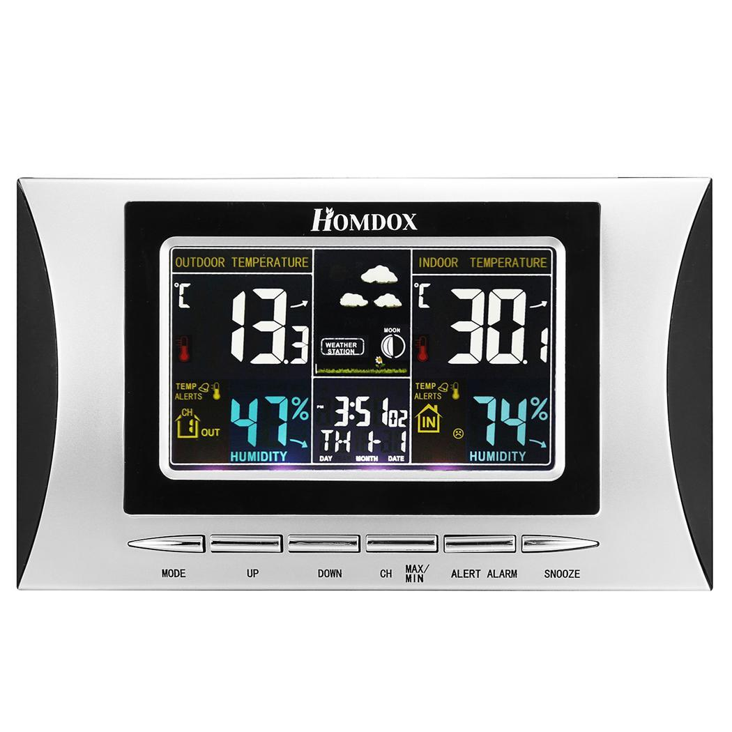Homdex 433MHz Wireless LCD Display Digital Color Weather Forecaster Station Clock with Remote Sensor 1