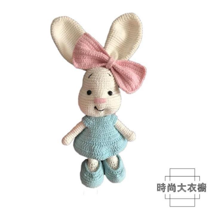大耳朵兔子玩偶 手工diy鉤針編織毛線材料包 0