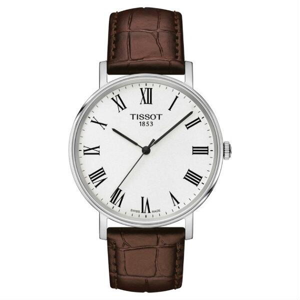 TISSOT天梭表T1094101603300Everytime經典時尚紳士石英腕錶咖啡錶帶38mm