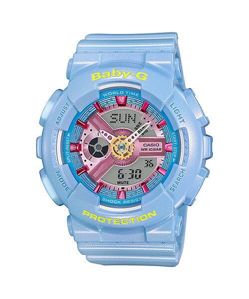 CASIO 卡西歐 日期 計時碼表 多層次珠光色彩潮流腕錶 雙顯示 女錶 粉藍 BA-11