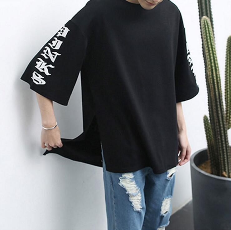 FINDSENSE品牌  男士 袖口印花銘文 蝙蝠袖潮流t恤 短袖T恤特色短T