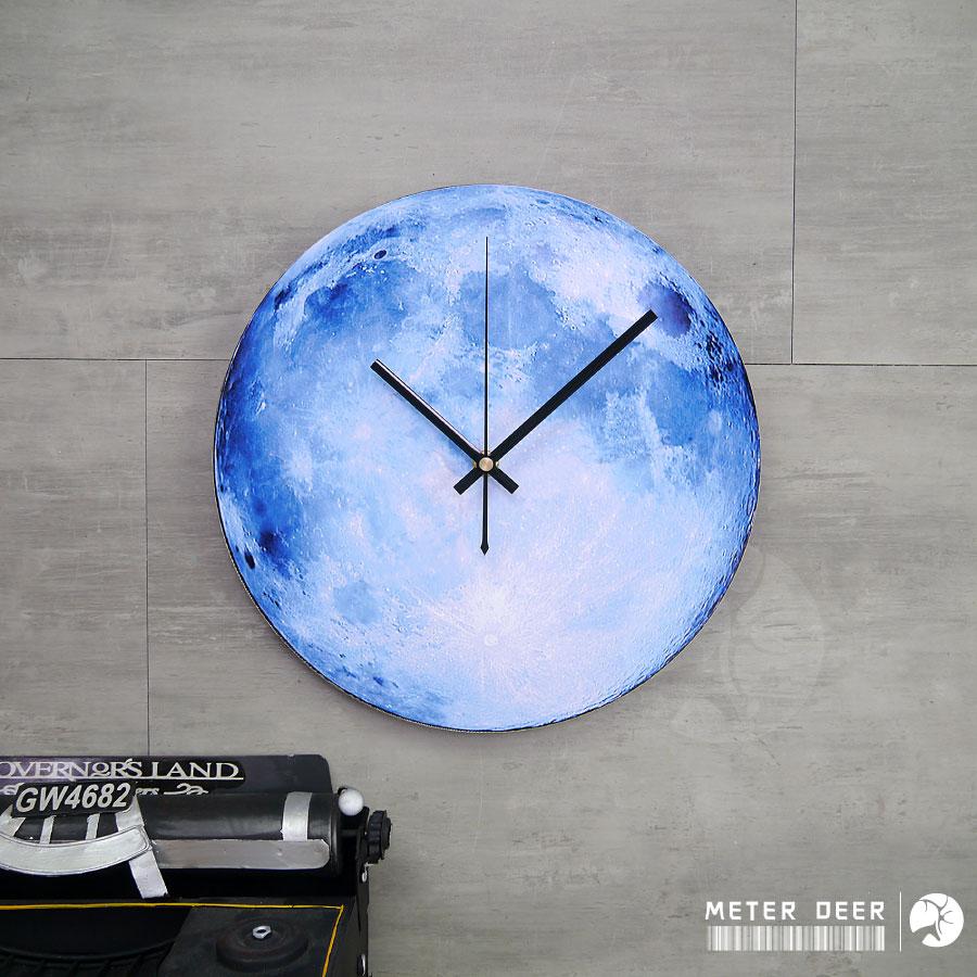 時鐘 月球表面 月亮 造型 靜音掛鐘  牆面裝飾 太空 現代 科學 男孩房 品味 擺飾 創意 時鐘