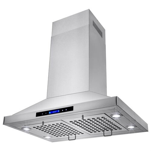 "30"" Stainless Steel Island Mount Range Hood Touch Screen Display Light Lamp Baffle Filter 1"