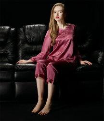 美琪 睡衣 舒適好眠 秋季睡衣 繡花極簡優雅家居服 桑蠶絲真絲睡衣套裝
