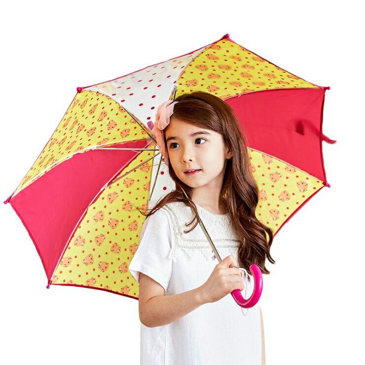 Lemonkid◆正韓可愛滿版卡通動物圖案點點果色造型兒童雨傘-西瓜紅(紅x黃)