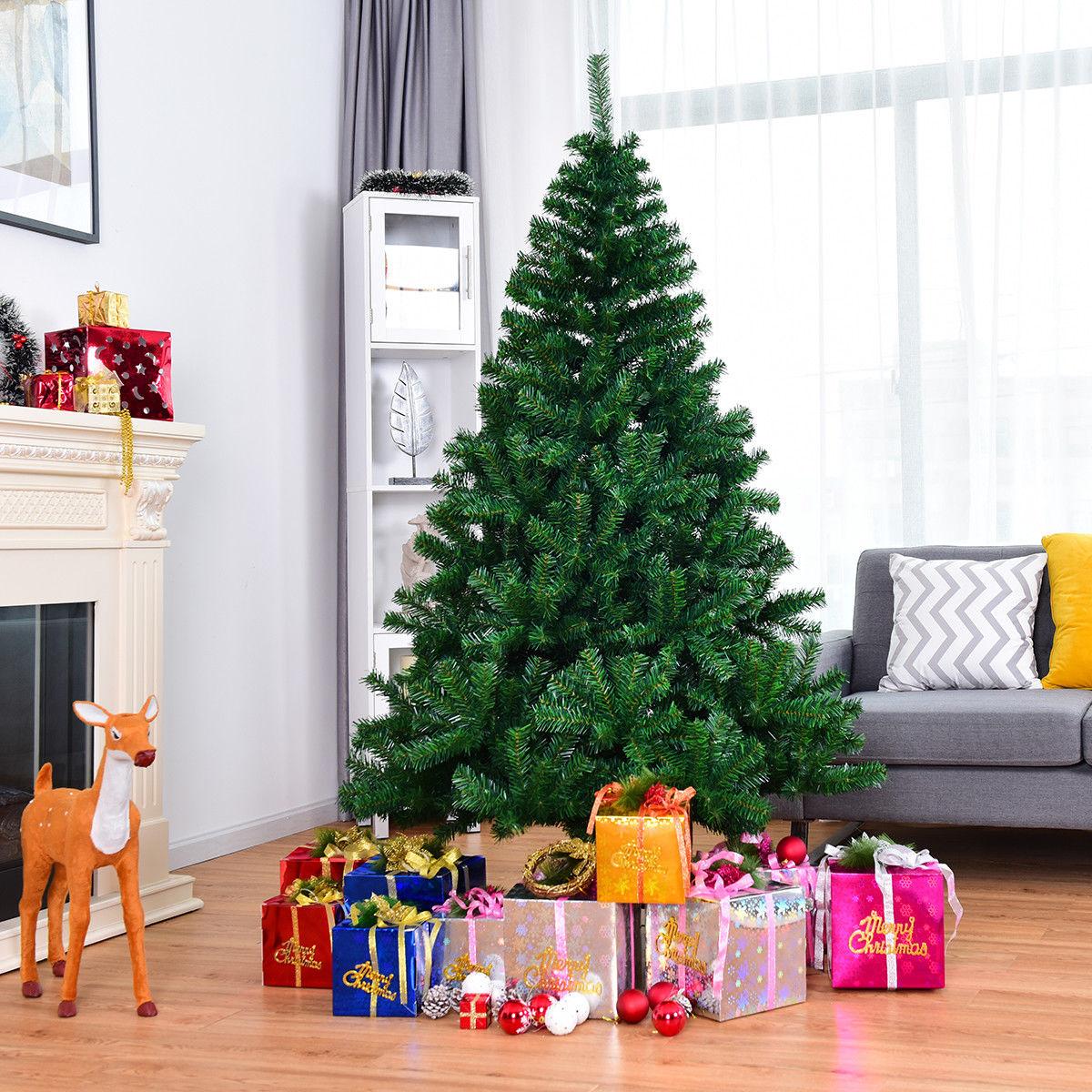 Costway 6ft Pvc Artificial Christmas Tree 1000 Tips Premium Hinged W Solid Metal Legs 0