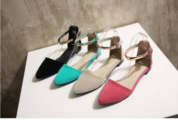 Pyf♥金屬繞踝磨砂絨面小尖頭中空平底鞋加大46大尺碼女鞋