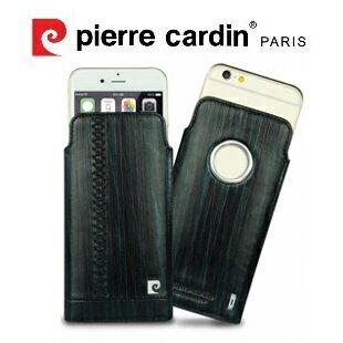 [ iPhone 6 ] Pierre Cardin 法國皮爾卡登4.7吋流水紋真皮抽取式手機套/皮套 黑色
