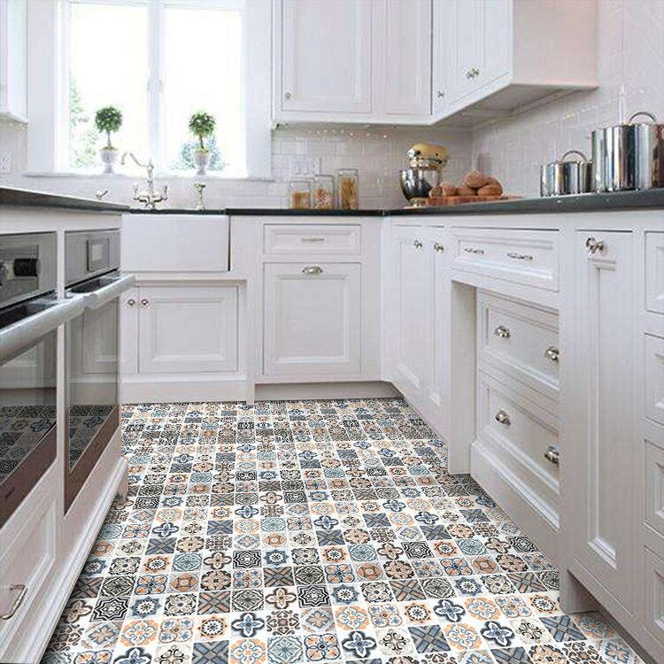 廚房防油地貼紙 地面 防水地上耐磨裝飾自黏北歐ins風地板瓷磚貼 特惠九折