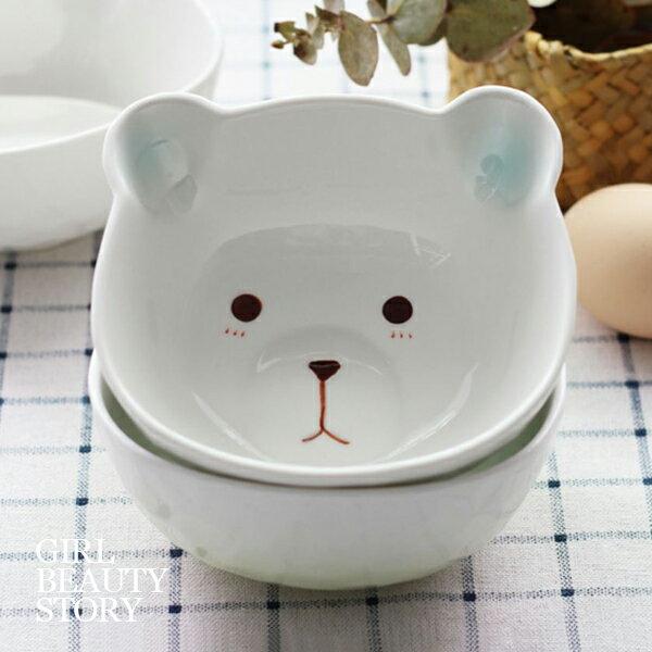 SISI【G8007】可愛木木熊可愛家用兒童陶瓷沙拉碗飯碗湯碗