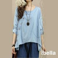 牛仔襯衫推薦到牛仔襯衫 斜門襟不對稱襯衫上衣 衣服日系 【88-12-8267-0023-18】 預購 ibella就在ibella推薦牛仔襯衫