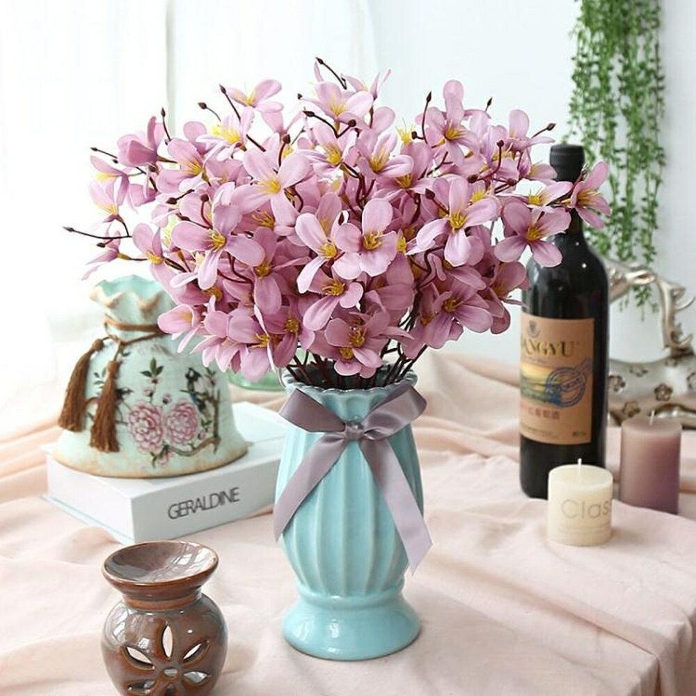 仿真玫瑰干花束客廳家居擺設盆栽臥室內餐桌茶幾裝飾塑料假花擺件   都市時尚