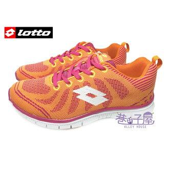 【巷子屋】義大利第一品牌-LOTTO樂得 女款裸足感飛線編織極致輕量運動慢跑鞋 [2213] 橘 超值價$590