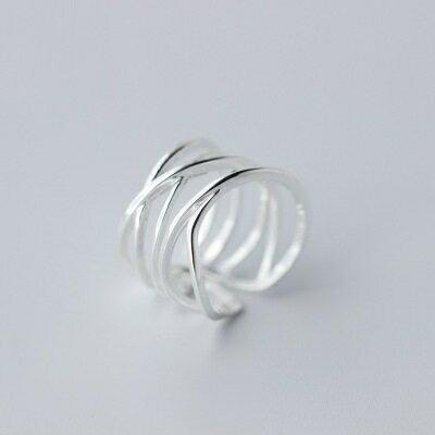 925純銀戒指開口戒~簡約多層線圈 七夕情人節 女飾品73dt306~ ~~米蘭 ~