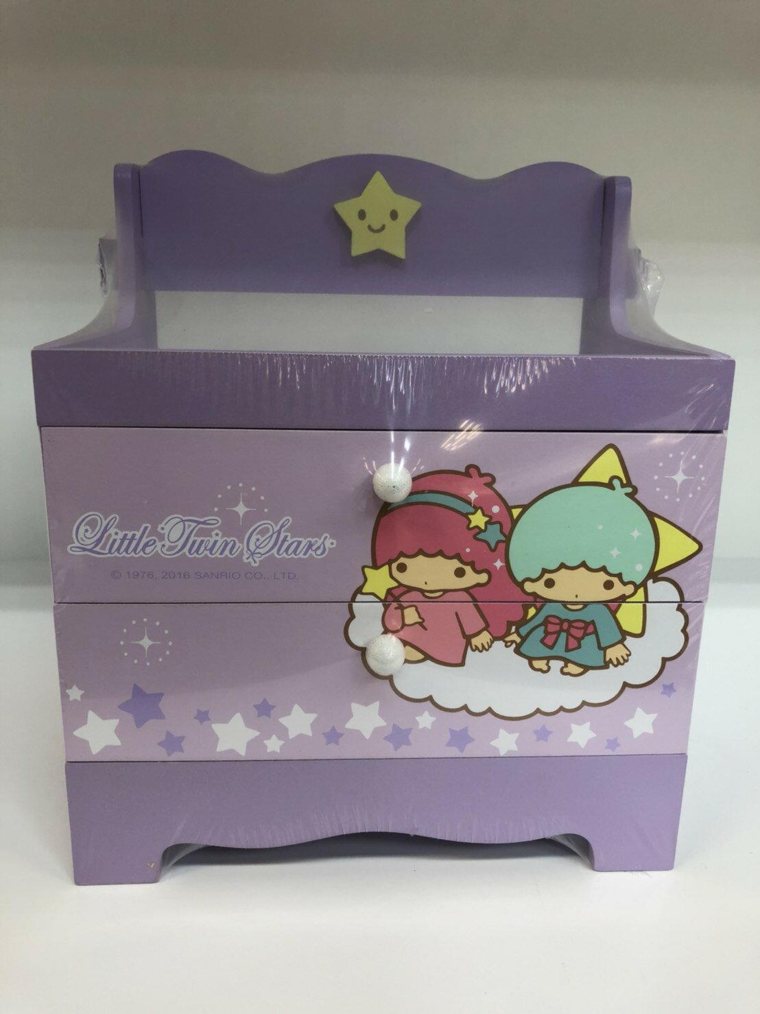 雙子星 繽紛  兩層 收納盒 飾品盒 收納櫃 桌上型 三麗鷗 Kiki Lala   T0001 146